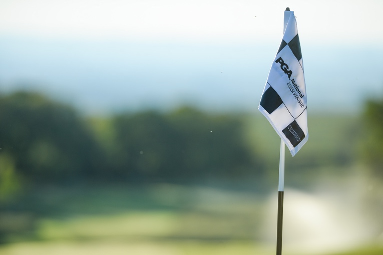 View of a flag on the course at PGA National Czech Republic